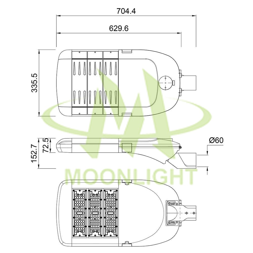 LED Street Light Housing MLT-SLH-AM-II Mechanical Dimensions