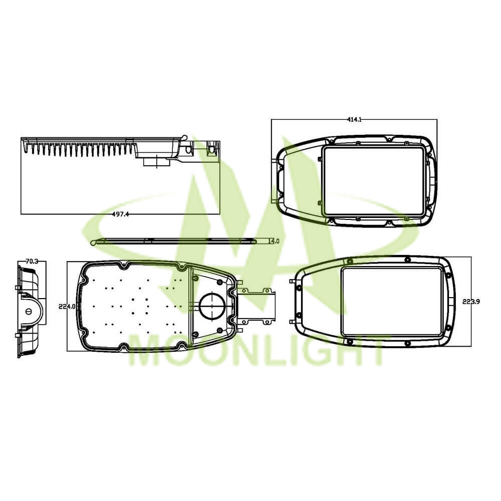 LED Street Light Housing MLT-SLH-AS-II Mechanical Dimensions