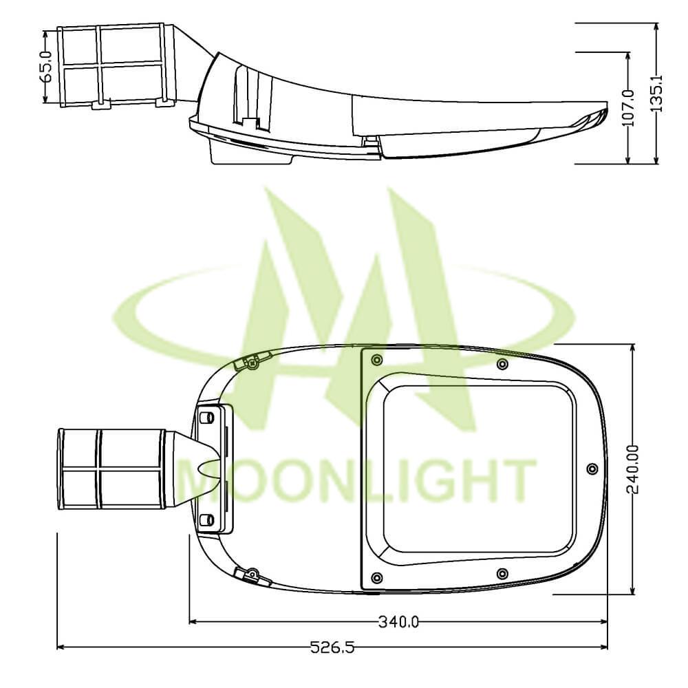LED Street Light Housing MLT-SLH-DXS-II Mechanical Dimensions