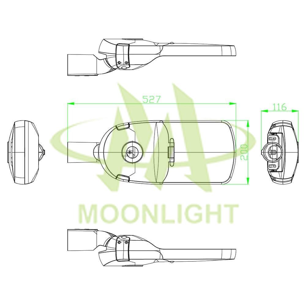 LED Street Light Housing MLT-SLH-FXS-II Mechanical Dimensions