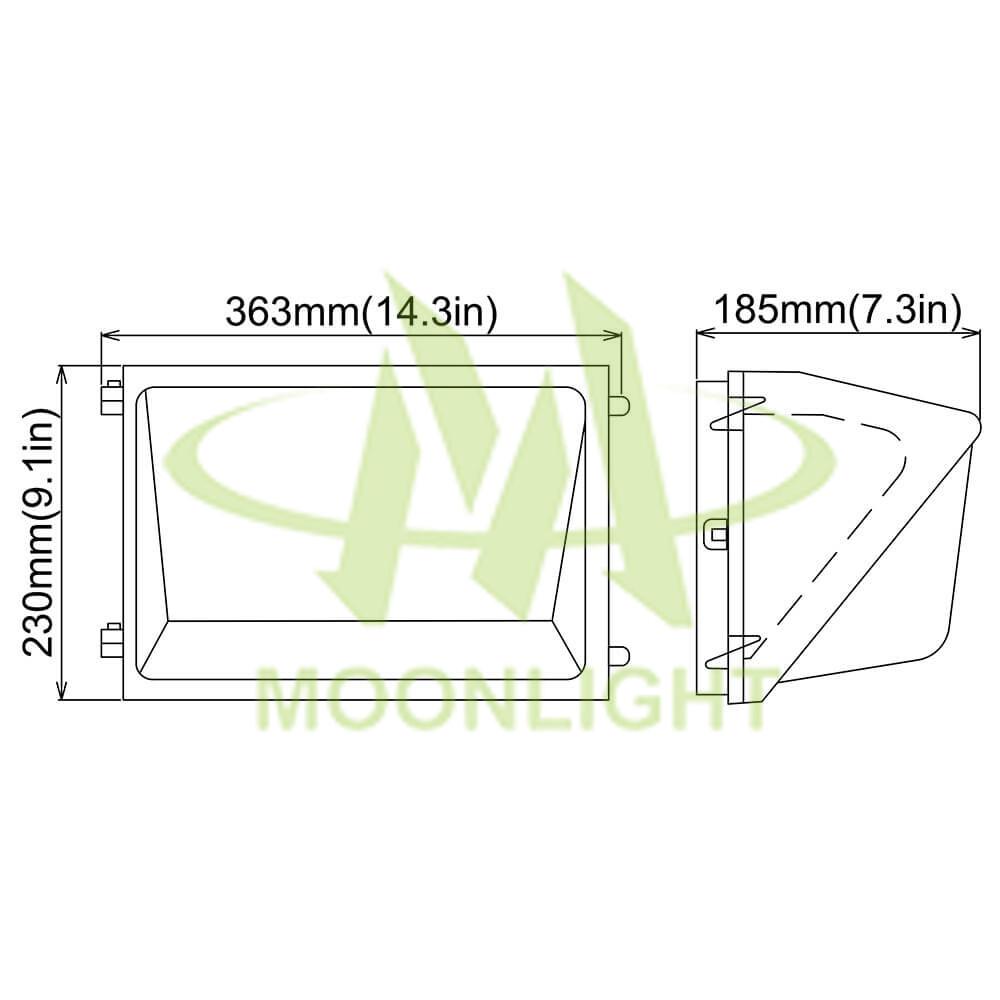 LED Wall Pack Housing MLT-WPH-BS-II Mechanical Dimensions