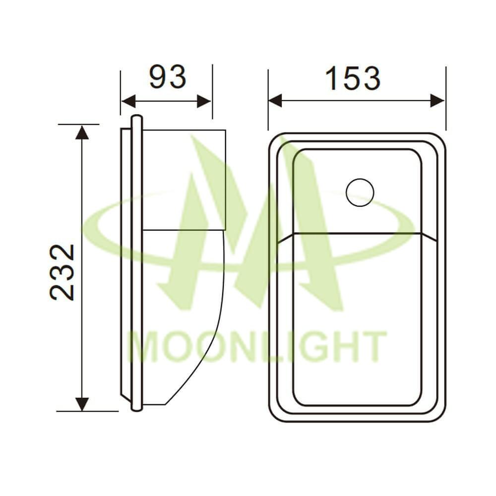 LED Wall Pack Housing MLT-WPH-CS-II Mechanical Dimension