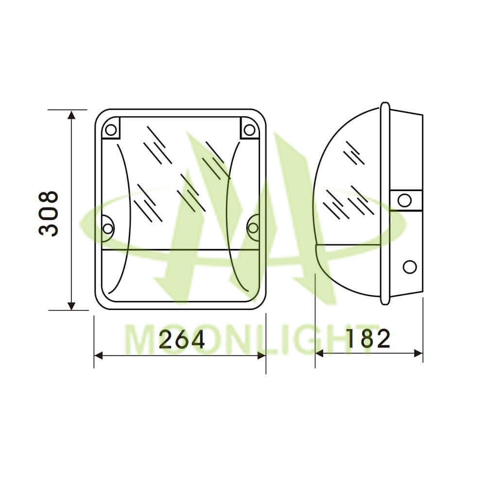 LED Wall Pack Housing MLT-WPH-DS-I Mechanical Dimension