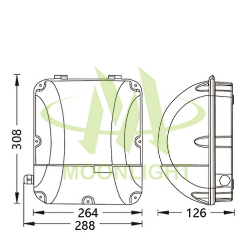 LED Wall Pack Housing MLT-WPH-DS-II Mechanical Dimension